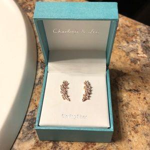 Rose gold climber earrings